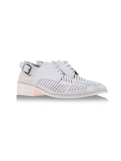 "<p>Laser cuts, buckles and laces make a cool combo. </p><p>Light grey laser cut lace ups £370 by LD Tuttle at <a href=""http://www.shoescribe.com/gb/women/brogues_cod44627619bu.html"">Shoescribe</a></p>"