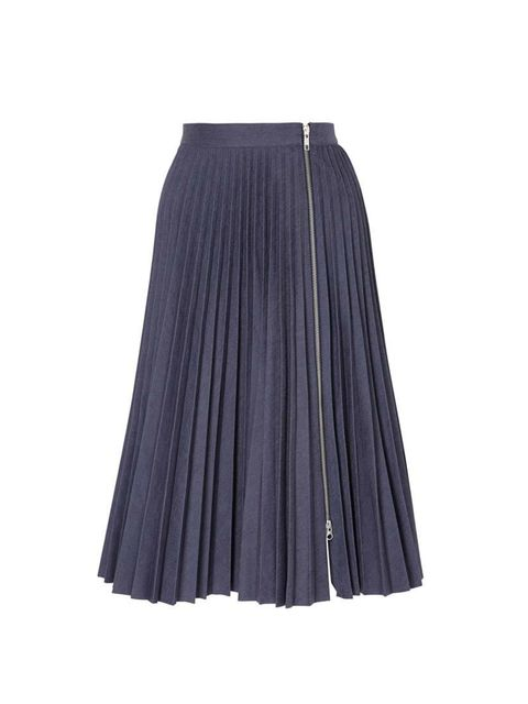 "<p>Antipodium pleated skirt, £175, <a href=""http://www.my-wardrobe.com/antipodium/straight-edge-pleat-denim-skirt-with-front-zip-958157"">mywardrobe.com</a></p>"