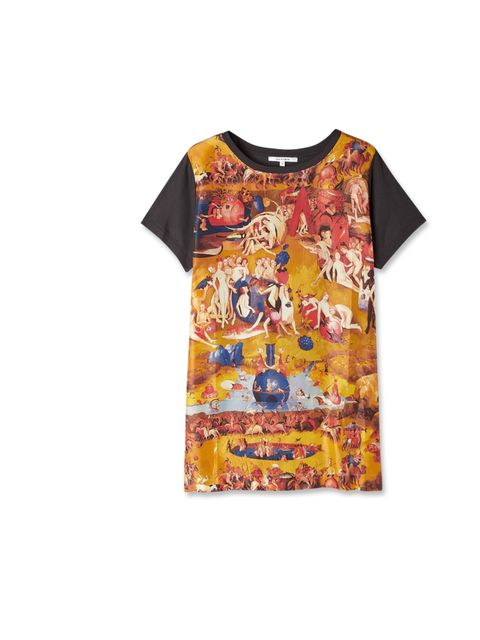 """<p>Trust us, everyone needs a statement T-shirt. Worn with denim cut-offs or leather trousers and heels, this Carven number is multi-functional fashion at its best… Carven printed silk T-shirt, £145, at My-Wardrobe</p><p><a href=""""http://shopping.elleuk.co"""