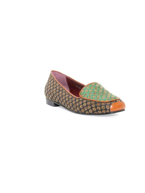 <p>In case you missed the memo, it's all about flats right now. And the fancier the better. Team with cigarette pants, jeans or leather shorts for a style statement with the comfort factor… Opening Ceremont brocade slippers, £186, at Matches</p><p><a href