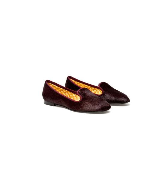 "<p>Avec Moderation burgundy smoking slippers, £200, at Browns</p><p><a href=""http://shopping.elleuk.com/browse?fts=avec+moderation+calf+hair+slippers"">BUY NOW</a></p>"