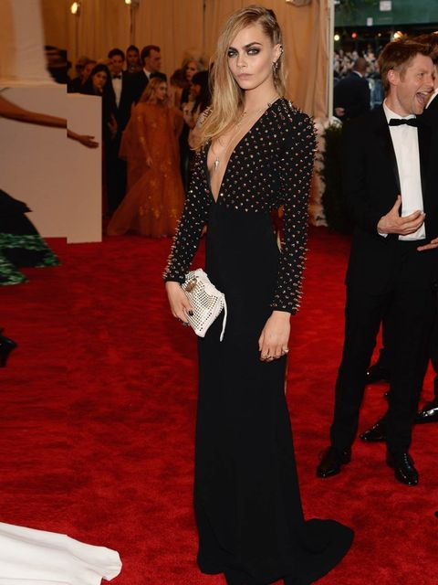 "<p><a href=""http://www.elleuk.com/star-style/celebrity-style-files/cara-delevingne-model-of-the-year-2012"">Cara Delevingne</a> wearing <a href=""http://www.elleuk.com/catwalk/designer-a-z/burberry-prorsum/autumn-winter-2013"">Burberry</a> and Dominic Jones"