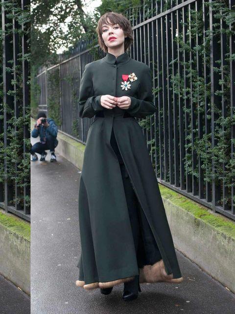 <p>Ulyana Sergeenko wears dress and shoes of her own design dress.</p>