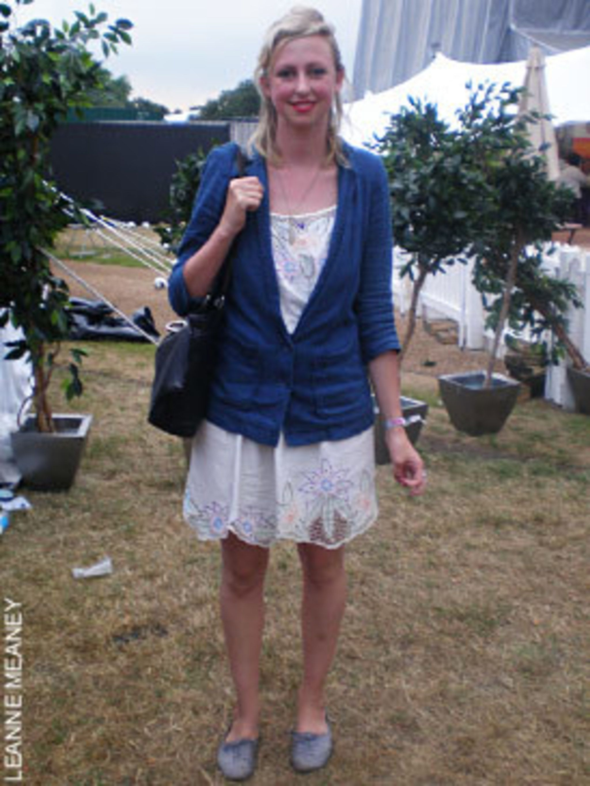 <p>Alice Dunseath, 24, film maker, wearing shoes, dress and jacket all Topshop, and a vintage handbag</p>