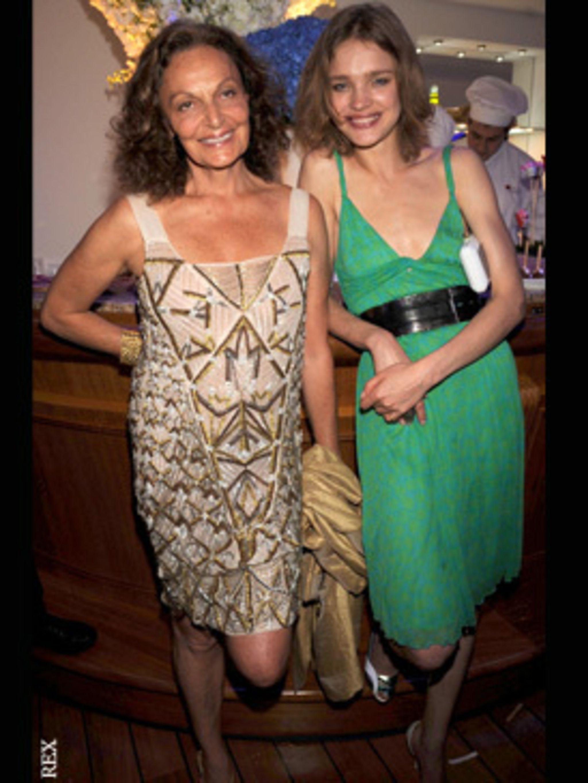 <p>Diane von Furstenberg and Natalia Vodianova get in to the party spirt</p>