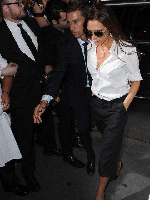 <p>Victoria Beckham heads into Balthazar, wearing a total look from her s/s 2014 show</p>
