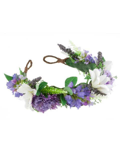 """<p><a href=""""http://www.rocknrose.co.uk/collections/headwear/products/violet-floral-meadow-crown-headband"""" target=""""_blank"""">RocknRose</a> headband, £48</p>"""
