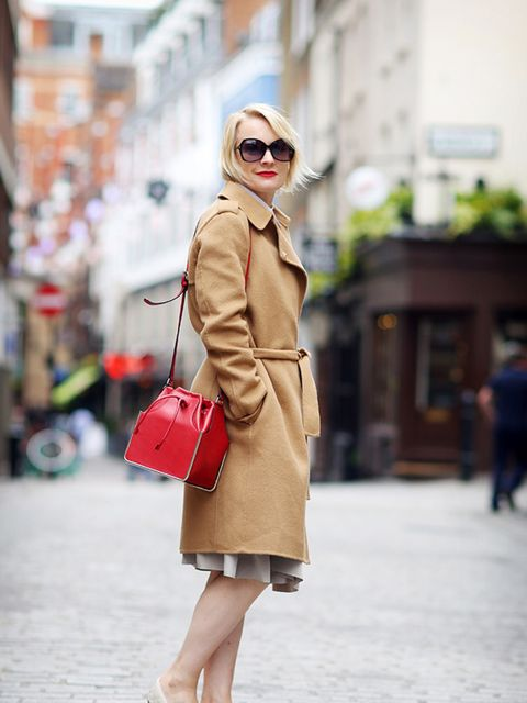 Lorraine Candy, Editor-in-Chief  Joseph coat, Carven bag, Tom Ford sunglasses, Office shoes.