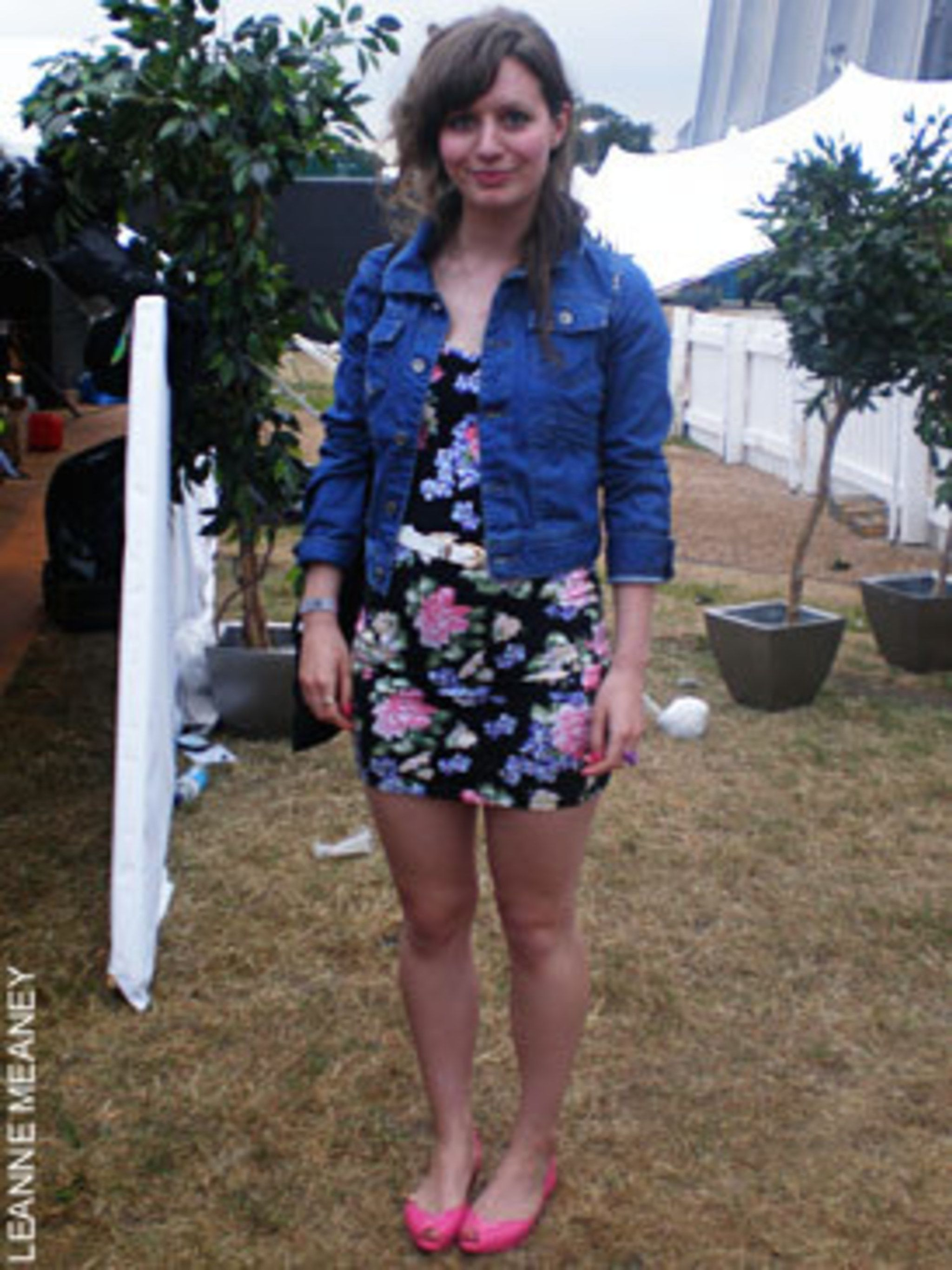 <p>Lucy Sanderson, 23, working in marketing for Diesel and Diesel Music wearing a Diesel denim jacket, Topshop dress and belt and a pair of Melissa shoes</p>