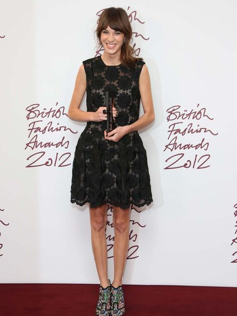 """<p><a href=""""http://www.elleuk.com/star-style/celebrity-style-files/alexa-chung-s-style-file"""">Alexa Chung</a>, winner of the British Style brought to you by Vodafone people's choice award, in a black embroidered sleeveless <a href=""""http://www.elleuk.com/ca"""