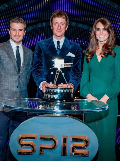 <p>David Beckham, Bradley Wiggins and Kate Middleton at the Sports Personality of the Year awards</p>