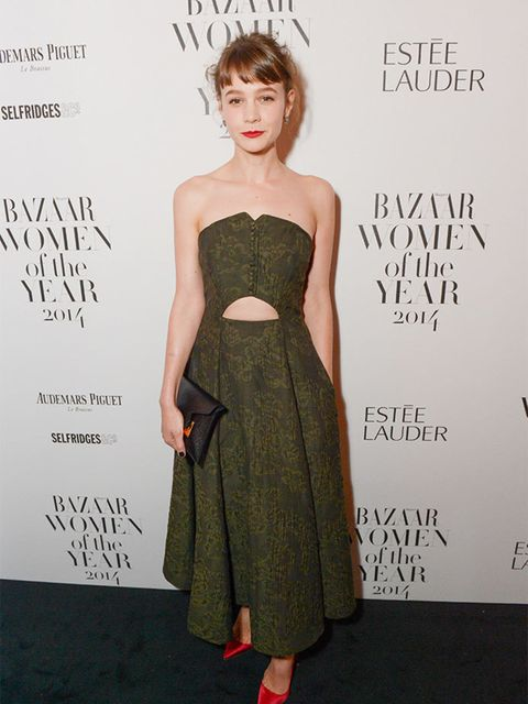 "<p><a href=""http://www.elleuk.com/fashion/celebrity-style/carey-mulligan-s-style-file"">Carey Mulligan</a> wore Erdem s/s 2015 dress and Sophia Webster shoes&nbsp&#x3B;to the Harper&#39&#x3B;s Bazaar Women Of The Year Awards 2014.</p>"