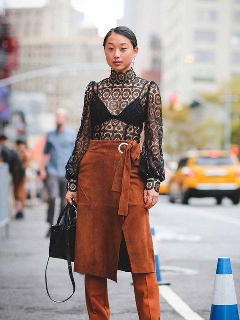 <p>Margaret Zhang mixes her textures on the streets of New York this fashion week with this Tibi FW15 suede wrap skirt and lace top… Take inspiration from her style and get shopping for a textural AW15 wardrobe! </p>