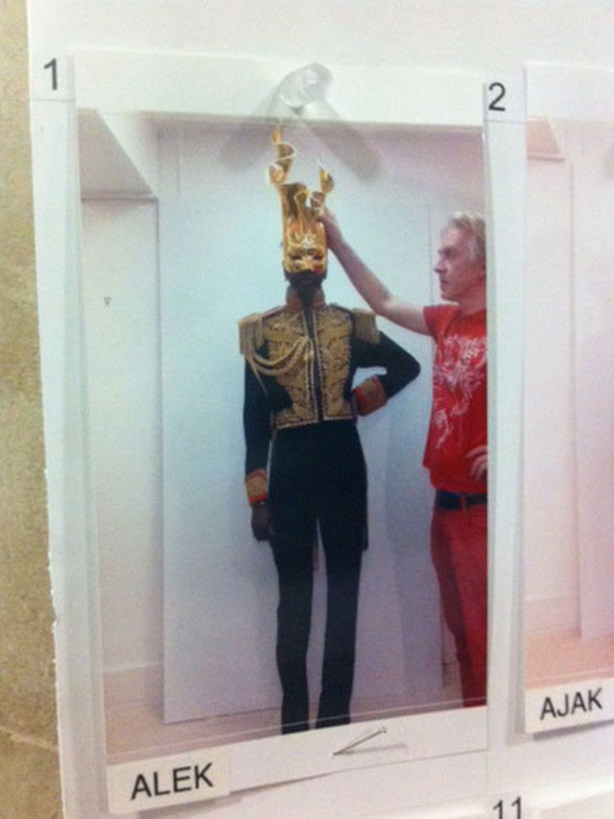 <p>Alek Wek's look from the Philip Treacy spring summer 2013 show backstage</p>