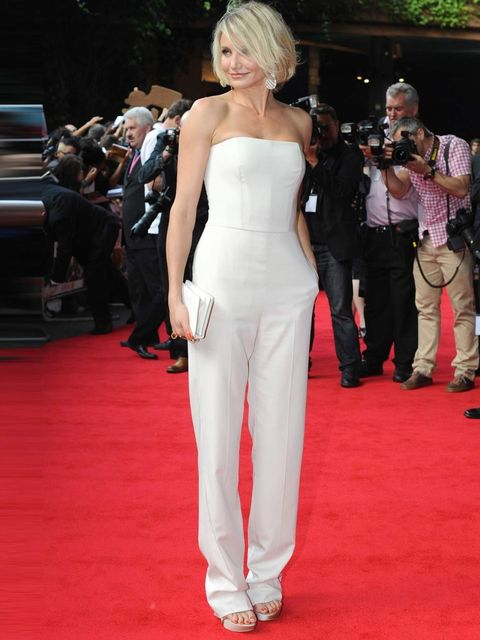 "<p><a href=""http://www.elleuk.com/star-style/celebrity-style-files/cameron-diaz"">Cameron Diaz</a> wears a strapless white <a href=""http://www.elleuk.com/catwalk/designer-a-z/stella-mccartney/spring-summer-2013/collection"">Stella McCartney</a> jumpsuit to"