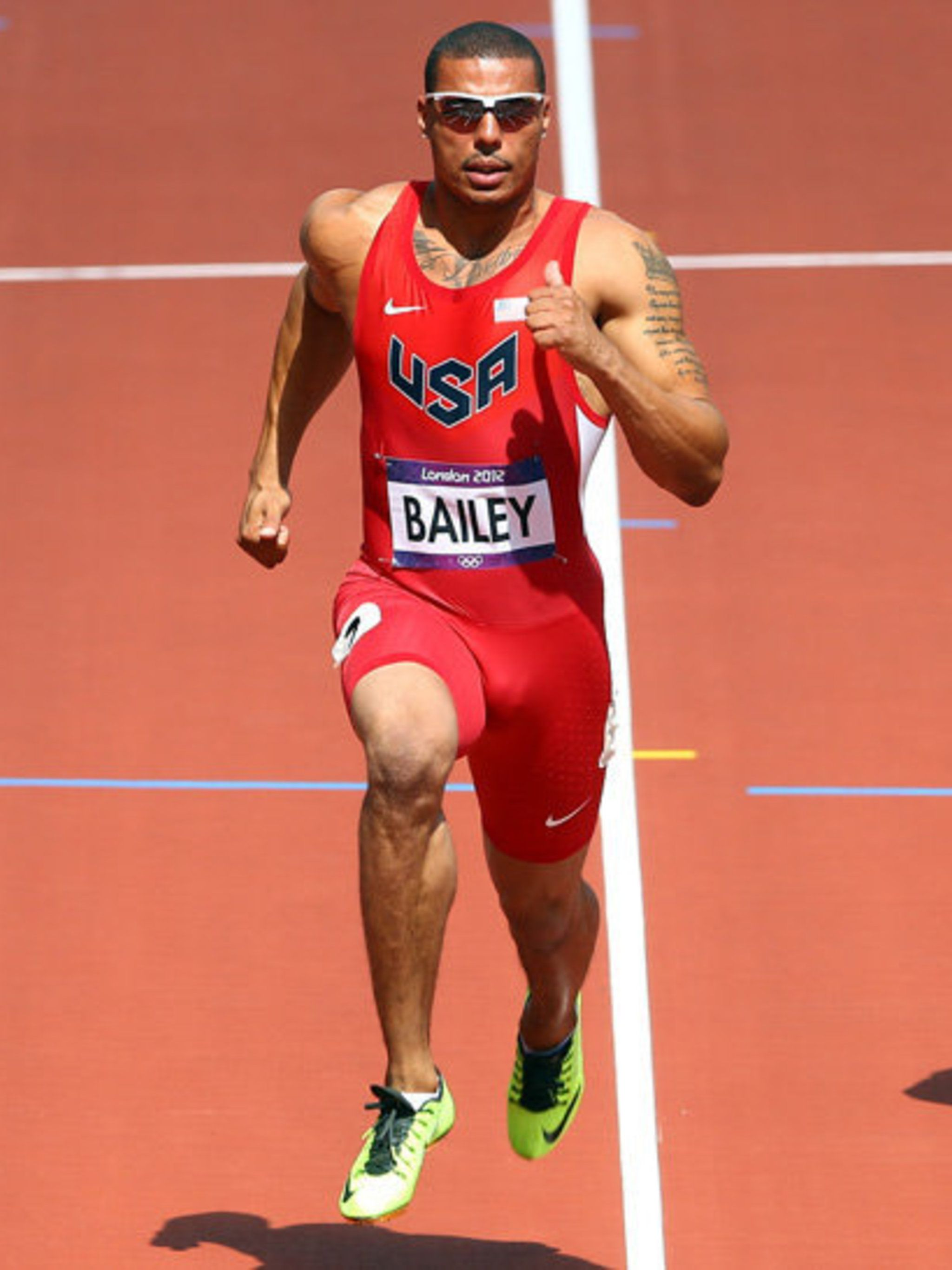 <p>Ryan Bailey, USA 100m sprinter in trainers from Nike's 'Volt Collection'</p>
