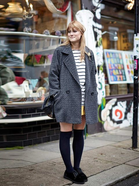 """<p>Louise Cox wears vintage coat and shorts, American Apparel top, Topshop shoes, & Other Stories socks, Topshop bag.</p><p><em><a href=""""http://www.elleuk.com/style/street-style/best-of-spring-summer-2014-shows-street-style"""">SS14 fashion week street s"""