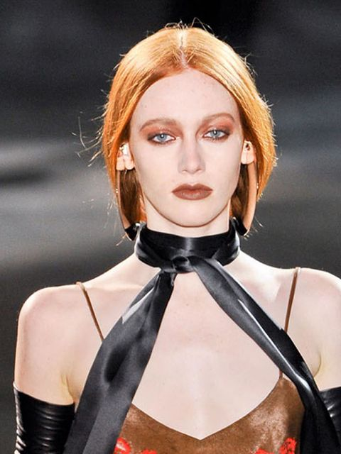 <p>First there was Rooney Mara's incarnation as The Girl with the Dragon Tattoo and now come the inevitable fashion remakes. Givenchy, Versace and Todd Lynn all worked it well – ghostly skin paired with naturally shadowed eyes and deep, dark, blood-staine
