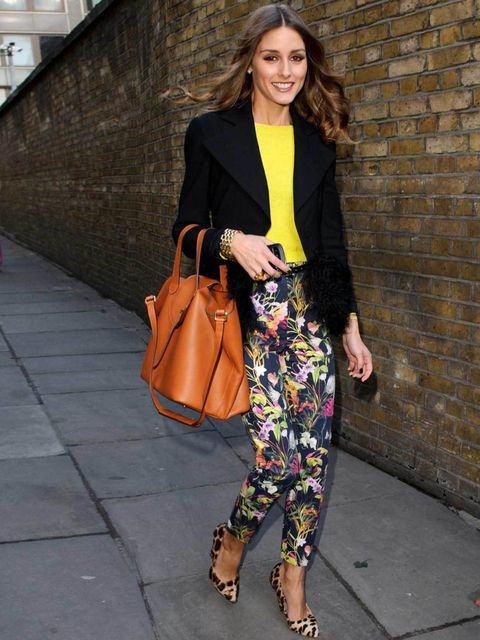 "<p><a href=""http://www.elleuk.com/star-style/celebrity-style-files/olivia-palermo"">Olivia Palermo</a> effortlessly mixing a yellow top with pretty floral trousers during <a href=""http://www.elleuk.com/style/street-style/london-fashion-week-street-style"">L"