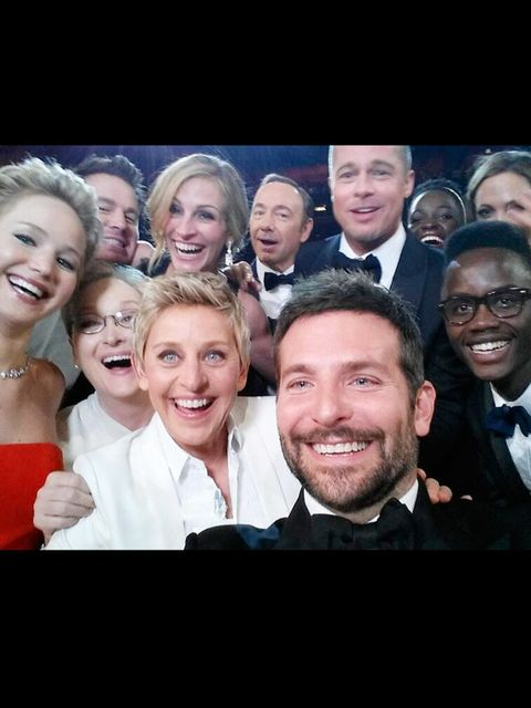 "<p>Getting in on the <a href=""http://www.elleuk.com/fashion/news/ellen-degeneres-oscars-selfie-most-retweeted-ever"">ultimate selfie</a> (just about)</p>"