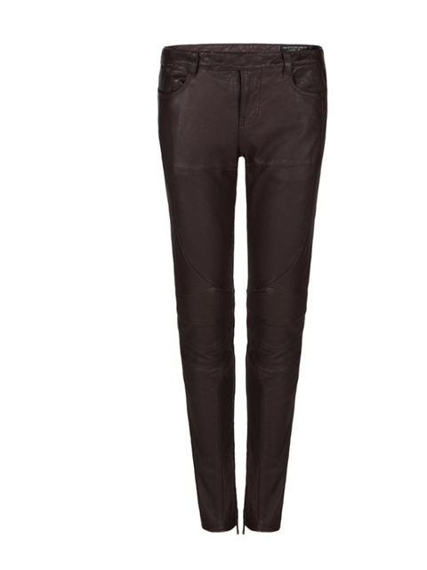 "<p><a href=""http://www.allsaints.com/women/trousers/allsaints-biker-trouser/?colour=89&category=25"">All Saints</a> oxblood leather biker trousers, £295</p>"
