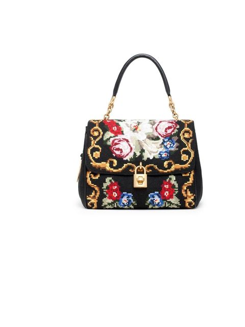 <p>Dolce & Gabbana needle point 'Dolce' bag, £1,450, For stockists call 0207 659 9000</p>