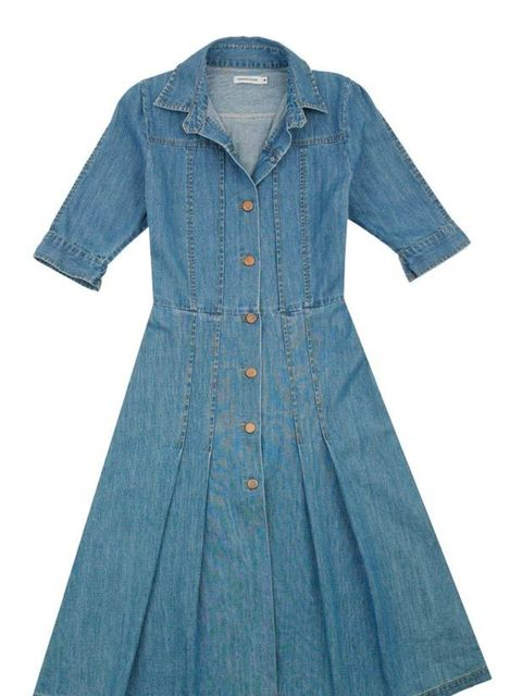"""<p>Fashion's love affair with denim is embodied in this dress by cult French label Surface To Air- swap your tea dresses for it now... Surface To Air denim dress, £167, at <a href=""""http://www.urbanoutfitters.co.uk/"""">Urban Outfitters</a> </p>"""