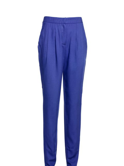 "<p><a href=""http://www.reissonline.com/shop/womens/casual_trousers/gilda/royal_blue/"">Reiss</a> soft pleat trousers, £110</p>"