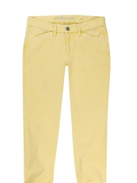 "<p><a href=""http://www.mih-jeans.com/the-athens-capri-1542.html"">MiH</a> yellow cropped jeans, £154</p>"