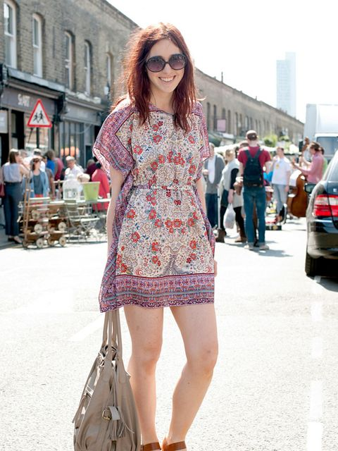 "<p>Photo by Kirstin Sinclair @ Anthea Simms.Sophie Taylor, 24, Assistant Merchandiser at Topshop. Zara dress, <a href=""http://shopping.elleuk.com/browse/women/Topshop?fts=wedges"">Topshop</a> shoes, bag & sunglasses.</p>"