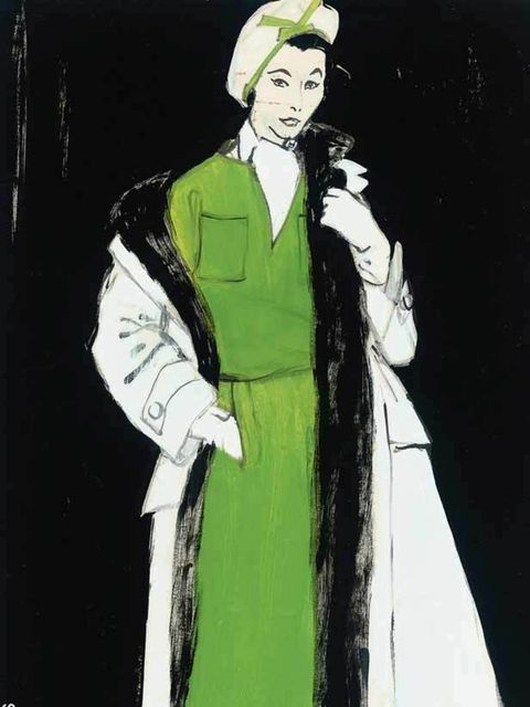 <p>An advertisement for Christian Dior by the renowned illustrator René Gruau (1909-2004), who created some of the most iconic fashion images of the 20th century.</p>