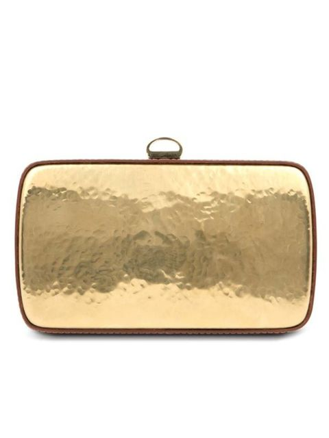 <p>Sergio Rossi hammered brass clutch, £1315, for stockists call 0207 811 5950</p>