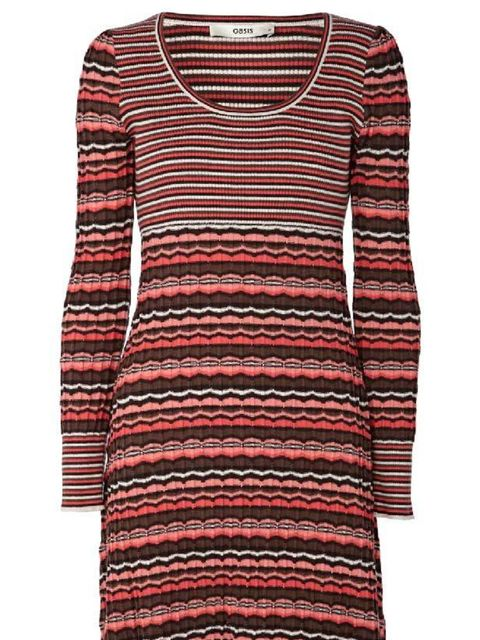 """<p><a href=""""http://www.oasis-stores.com///fcp-product/3660029669"""">Oasis</a> chevron stripe knitted dress, £50</p>"""