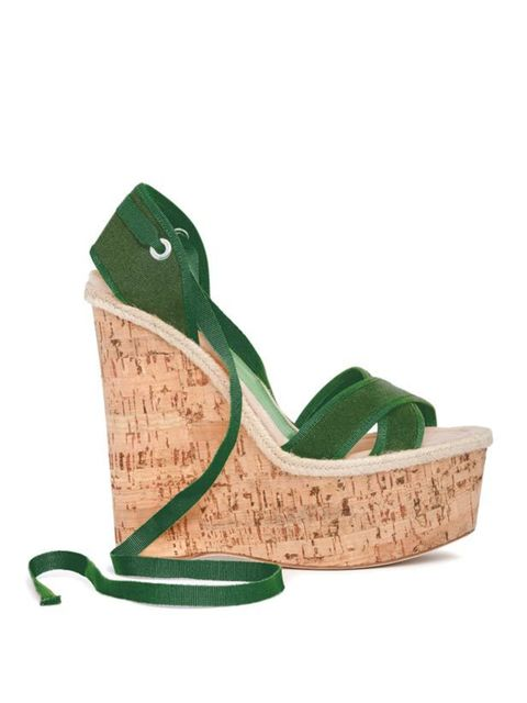 "<p><a href=""http://store.dolcegabbana.com/"">D&G</a> green tie wedge sandals, £280</p>"