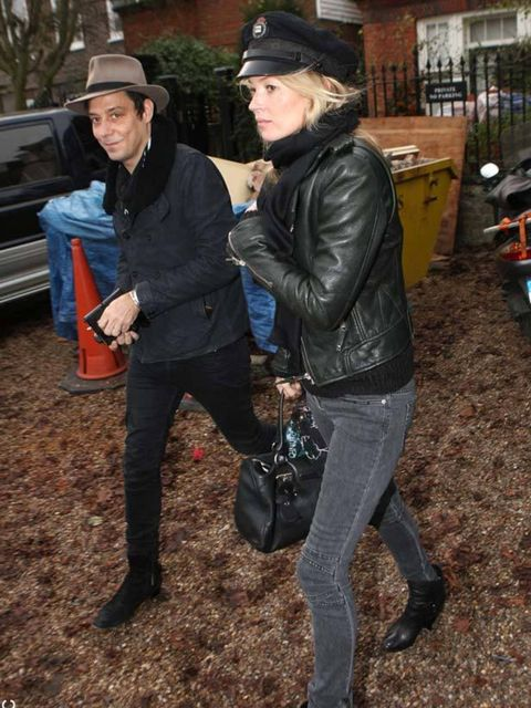 <p>Kate Moss with Jamie Hince in North London</p>