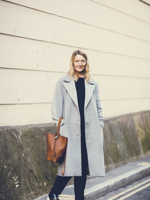 <p>Rebecca Lowthorpe - ELLE Collections Editor/ ELLE Assistant Editor</p>  <p>Richard Nicoll coat, APC jumper, Celine trousers and shoes, Louis Vuitton bag.</p>