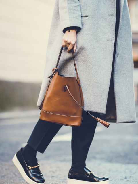 <p>Rebecca Lowthorpe - ELLE Collections Editor / ELLE Assistant Editor</p>  <p>Richard Nicoll coat, Celine trousers and shoes, Louis Vuitton bag.</p>