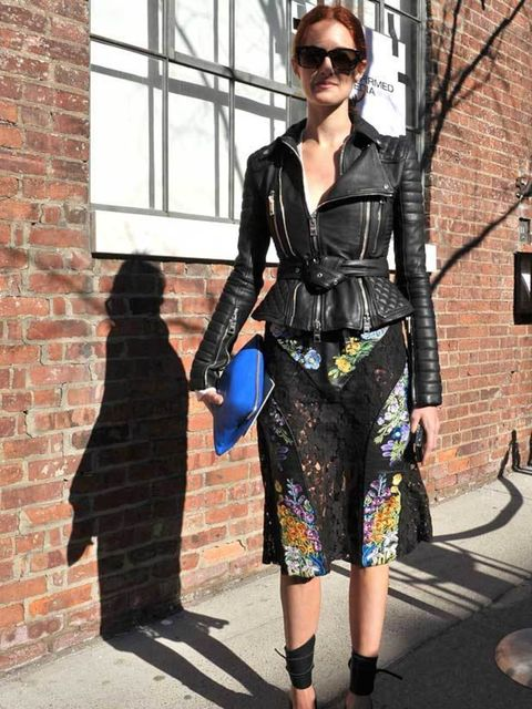 """<p>Photo by Imaxtree. Taylor Tomasi Hill, Marie Claire Style and Accessories Director. <a href=""""http://www.elleuk.com/catwalk/collections/burberry-prorsum/"""">Burberry</a> biker jacket, <a href=""""http://www.elleuk.com/catwalk/collections/christopher-kane/"""">C"""