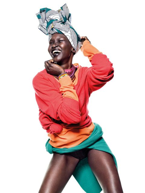 <p>Alek Wek for the United Colors of Benetton</p>