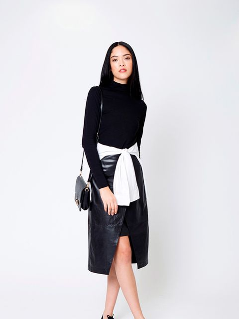 """<p>Lindex <a href=""""http://www.lindex.com/uk/women/tops/tops-t-shirts/7332922/Turtle-Neck-Top/?styleId=73279206"""" target=""""_blank"""">turtleneck</a>, £19.99 and leather <a href=""""http://www.lindex.com/uk/women/bottoms/skirts/7313454/Wrap-Leather-Skirt/?styleId=7"""