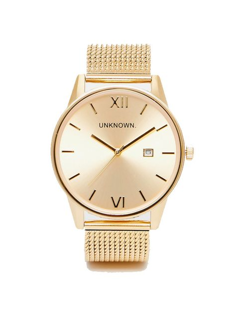 "<p>UNKNOWN watch, £115 at <a href=""http://www.asos.com/unknown/unknown-dandy-mesh-strap-watch/prod/pgeproduct.aspx?iid=5451941&clr=Gold&SearchQuery=gold+watch&pgesize=36&pge=0&totalstyles=154&gridsize=3&gridrow=3&gridcolumn=3"" target=""_blank"">asos.com</a>"