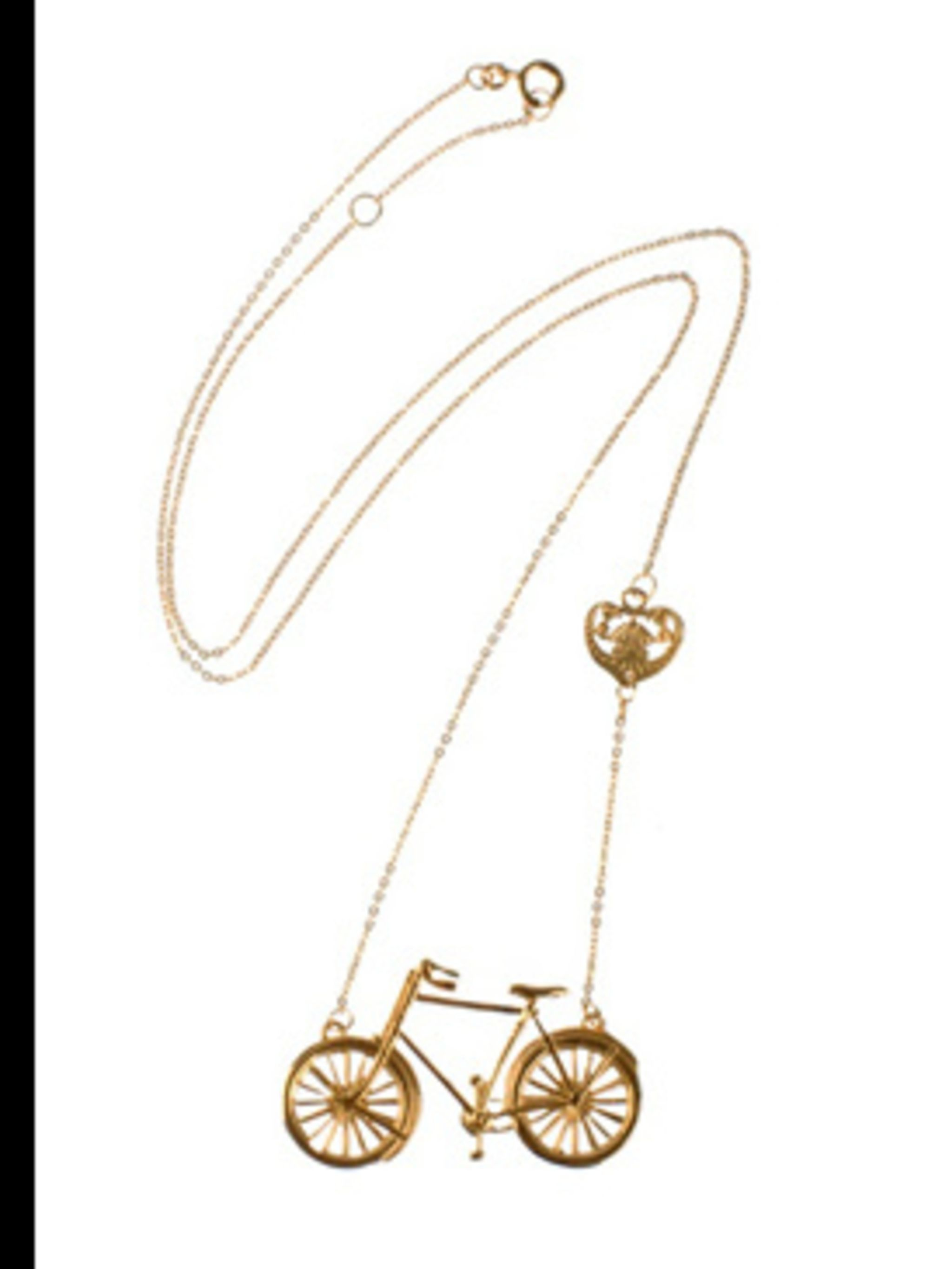 "<p>Bike Pendant, £96.00 by <a href=""http://www.farfetch.com/shopping/women/jewellery/item10008448.aspx?storeid=9010"">Beyond The Valley</a></p>"