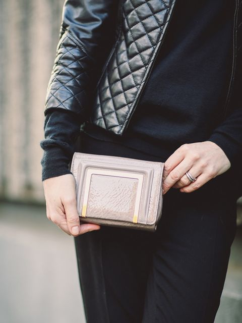 <p>Lorraine Candy - Editor-in-Chief.</p>  <p>Harrods leather jacket, Joseph jumper, Joseph trousers and Jimmy Choo clutch.</p>