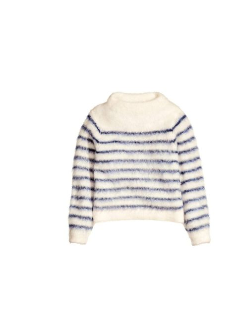 "<p>Pair this fluffy breton knit with tailored ankle length trousers and ballet flats for a simple, elegant look.</p><p><a href=""http://www.hm.com/gb/product/22942?article=22942-A"">H&M</a> jumper, £34.99</p>"
