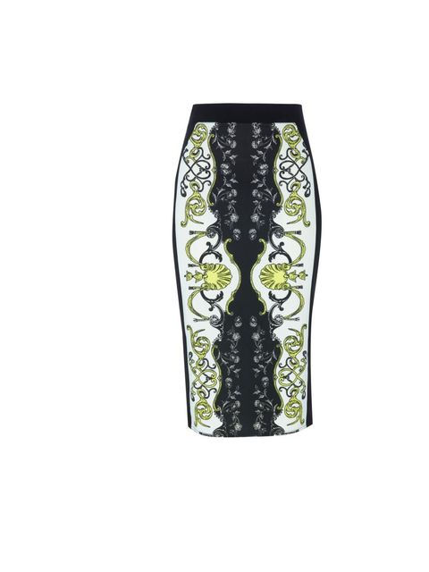 "<p><a href=""http://www.riverisland.com/Online/women/skirts/midi-skirts/black-print-pencil-skirt-616039"">River Island</a> printed pencil skirt, £25</p>"