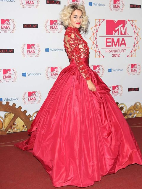 <p>Rita Ora in a blood-red Marchesa gown from the autumn winter 2012 collection</p>
