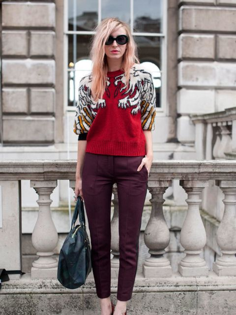 <p>Photo by Kirstin Sinclair.Leanna. Carven sweater, Sandro trousers, vintage sunglasses, Kurt Geiger shoes.</p>
