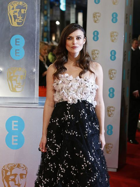 <p>Keira Knightley attends the 2015 BAFTA Awards, London, wearing Giambattista Valli Couture.</p>
