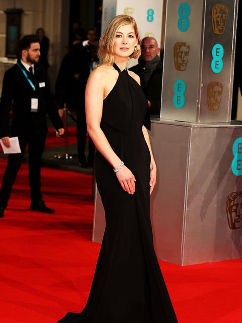 <p>Rosamund Pike, in Roland Mouret, attends the 2015 BAFTA Awards, London.</p>