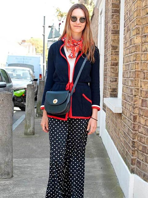 "<p>Photo by Kirstin Sinclair @ Anthea Simms.Miriam Dembach, 29, Fashion Journalist. <a href=""http://shopping.elleuk.com/browse/pants-shorts?fts=topshop"">Topshop</a> trousers, H&M scarf, vintage <a href=""http://shopping.elleuk.com/browse/jackets?fts=YS"